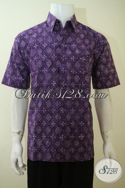 Baju Batik Solo Cap Smoke Motif Terbaru, Hem Batik Unik Warna Ungu Pas Buat Hangout, Pakaian Batik Khas Anak Muda Bisa Untuk Pesta, Size S – M