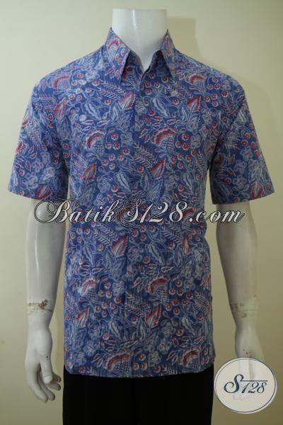 Hem Batik Lengan Pendek Warna Biru Motif Klasik Modern, Baju Batik Pria Lengan Pendek Kwalitas OK Proses Print Dengan Harga Terjangkau[LD3445P-S]