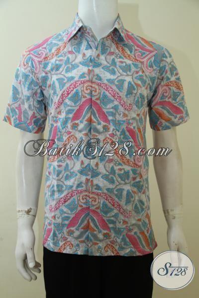 Hem Batik Gaul Khas Pria Muda 2015, Baju Batik Lengan Pendek Proses Print Berbahan Halus Adem Dan Nyaman Di Pakai, Size L – XL