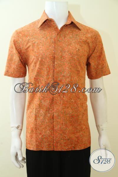 Baju Kemeja Batik Keren Warna Orange, Busana Batik Cap Smoke Lengan Pendek Motif Unik Halus Buatan Solo Harga Sangat Terjangkau, Size M – L – XL