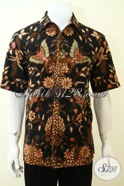 Kemeja Batik Klasik Motif Kupu Asli Produk Buatan Solo, Baju Batik Lengan Pendek Full Furing Pria Tampil Trendy Dan Elegan [LD3496TF-L]
