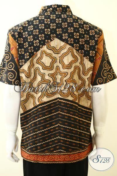 Sedia Pakaian Batik Klasik Seragam Kerja Pria Muda Masa Kini, Hem Batik Lengan Pendek Kwalitas Istimewa Dilengkapi Daleman Furing Katun  [LD3506TF-L]