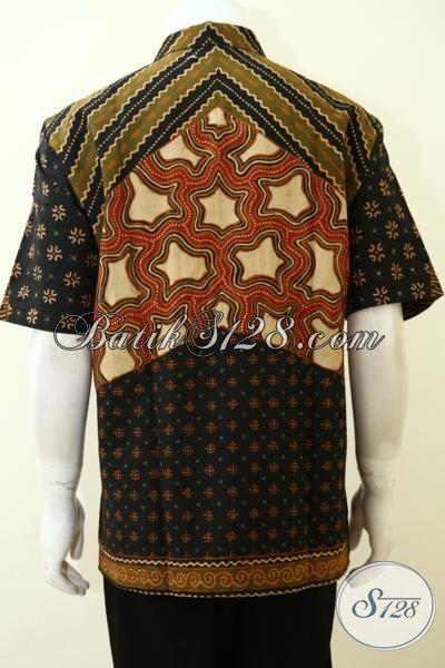 Pakaian Batik Lengan Pendek Motif klasik, Baju Batik Kwalitas Tinggi Buatan Solo, Hem Batik Full Furing Pria Tampil Elegan, Size XL