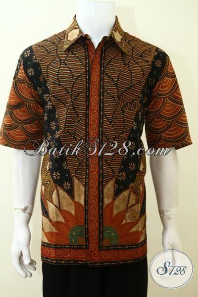 Baju Batik Lengan Pendek Cowok Dewasa, Pakaian Batik Klasik Full Daleman Furing Membuat Penampilan Lebih Bergaya [LD3508TF-XL]