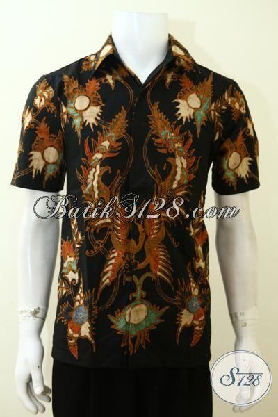 Kemeja Batik Tulis Halus Dasar Hitam Motif Klasik, Baju Batik Lengan Pendek Cocok Untuk Ke Kantor Dan Kondangan [LD3510T-M]