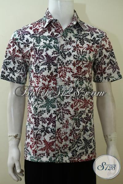 Baju Batik Lengan Pendek Motif Trendy, Baju Batik Halus Cap Bledak, Batik Jawa Tengah Paling Keren Untuk Hangouts Dan Kerja, Size M
