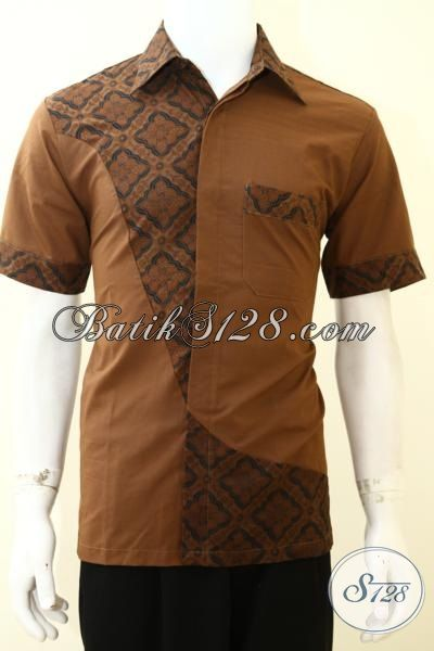 Jual Trend Pakaian Batik Anak Muda Masa Kini Dengan Desain Mewah Berkwalitas, Baju Batik Lengan Pendek Kombinasi Kain Polos Pas Buat Gaul [LD3526PO-M]