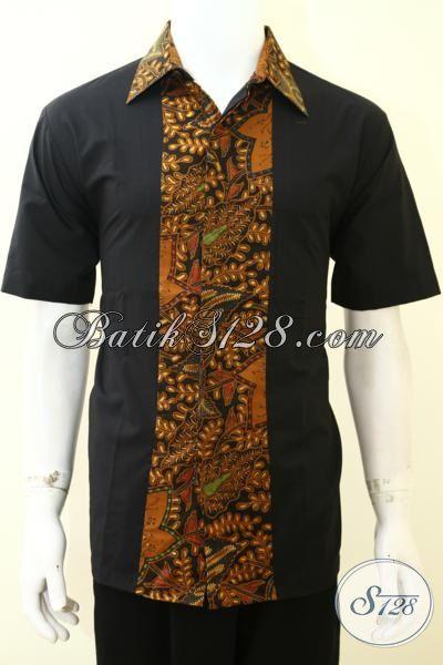 Pakaian Batik Klasik Kombinasi Kain Polos Khas Anak Muda Jaman Sekarang, Hem Batik Keren Kwalitas Halus Harga Murmer [LD3529PO-L]