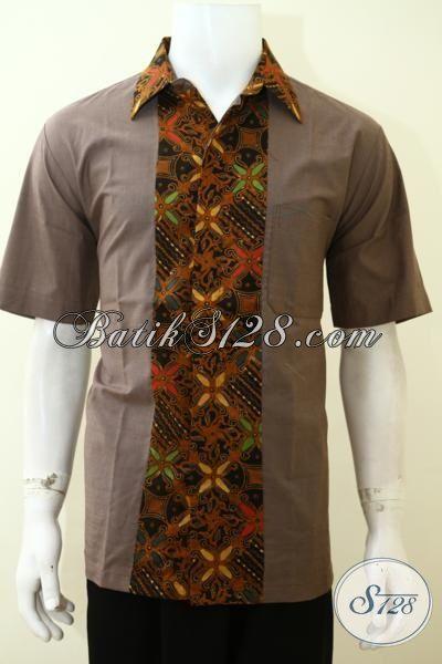 Kemeja Batik Lengan Pendek Motif Kombinasi Kain Polos Baju Batik