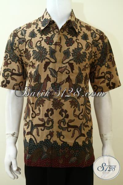 Kemeja Batik Keren Pria Muda Masa Kini Model Lengan Pendek, Hem Batik Paling Modis Yang Membuat Cowok Tampil Lebih Gagah Dan Berkelas [LD3535P-XXL]