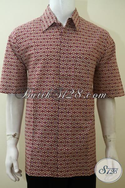Baju Batik Klasik Modern Buatan Solo Proses Printing, baju Batik Lengan Pendek Keren Buat Pesta Dan Modis Untuk Ke Kantor [LD3537P-XL]