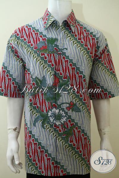 Hem Batik Jumbo Motif Parang desain Modern, Baju Batik Lengan Pendek Murmer Produk Solo Jawa Tengah [LD3539P-XXL]