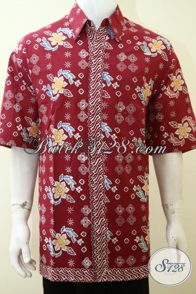Pakaian batik Pria Warna Merah Lengan Pendek Proses Cap Motif Keren, Hem Batik Modern Pas Buat Pesta Dan Seragam Kerja [LD3541C-XXL]