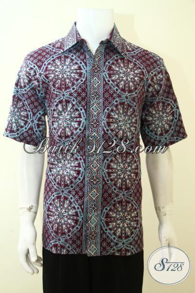 Hem Batik Halus Berbahan Dolby, Baju Batik Cap Tulis Lengan Pendek, Pakaian Batik Masa Kini Motif Uni pas Buat Pesta, Size L
