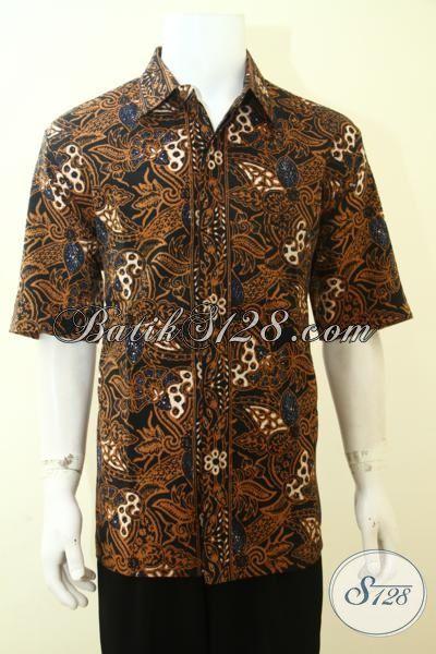 Baju Batik Full Furing Lengan Pendek, Batik Kerja Pria Muda Tampil Beda, Hem Batik Bahan Doby Halus Dan Adem, Size XL