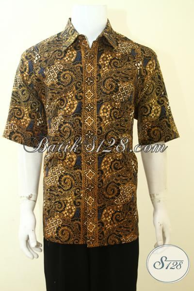 Jual Batik Solo Bahan Dolby, Baju Batik Full Furing Motif Klasik, Kemeja Batik Lengan Pendek Proses Cap Tulis, Size XL