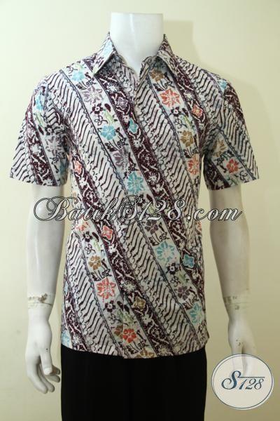 Baju Batik Parang Untuk Ke Kantor, Hem Batik Lengan Pendek Buatan Solo, Batik Cap Kwalitas Halus Harga Terjangakau, Size S