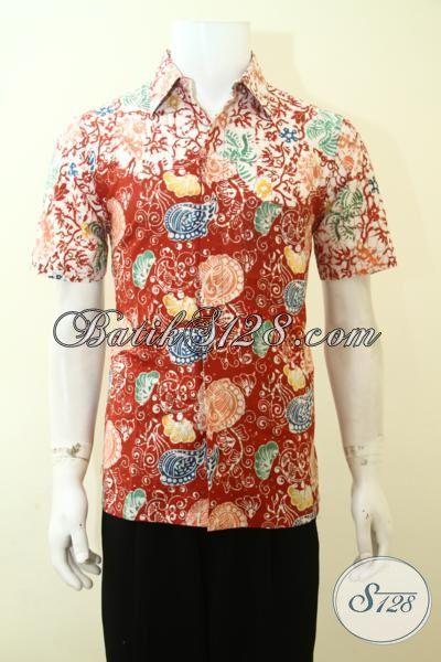 Batik Baju Anak Muda Terkini, Hem Batik Lengan Pendek Buatan Solo Proses Cap Motif Bagus Dan Fashionable [LD3551C-S]