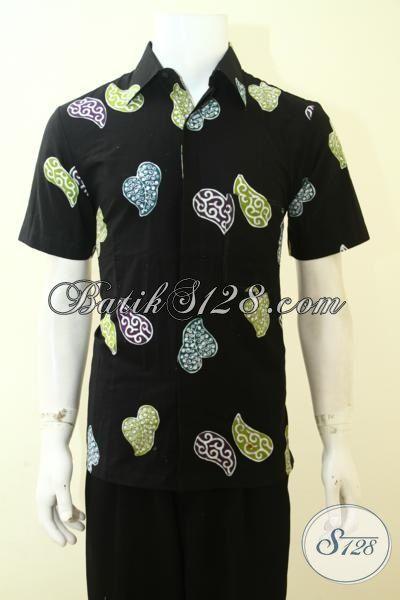 Jual Batik Hitam Motif Daun Keren Dan Gaul, Pakaian Batik Lengan Pendek Proses Cap Yang Pas Buat Hangouts [LD3552C-M]