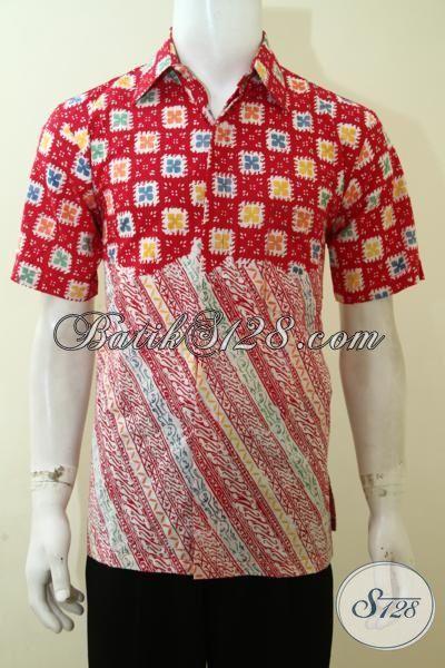 Hem Batik Dua Motif, Baju Batik Keren Anak Muda, Busana Batik Pesta Dan Hangouts Proses Cap, Batik  Paling Di sukai Remaja, Size M