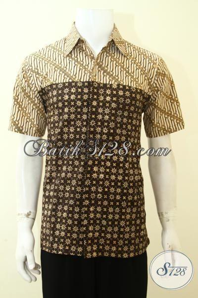 Jual Baju Batik Terbaru, Hem Batik Kombinasi Dua Motif, Trend Batik Pria Muda 2016, Baju Batik Paling Laris Saat Ini, Size M