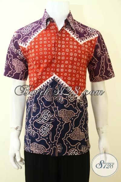 Jual Pakaian Batik Lelaki Macho Tampil Tampan, Busana Batik Trend Terbaru Dengan Kombinasi Dua Motif Tiga Warna Kesan Mewah Dan Elegan [LD3567CT-M]