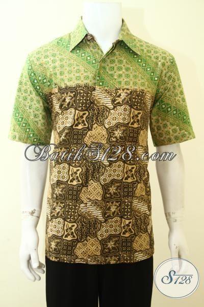 Kemeja Batik Anak Muda, Hem Batik Dua Motif, Batik Trendy Kombinasi Hijau Tua Dan Muda, Size L