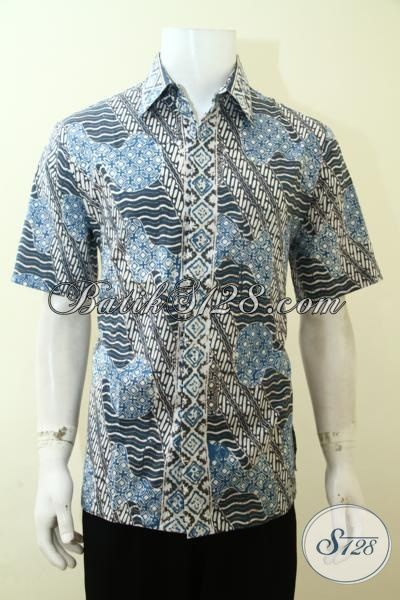 Hem Batik Lengan Pendek Halus, Batik Trendy Kesukaan Muda, Baju Batik Cap Warna Alam Pria Produk Dari Solo, Size L