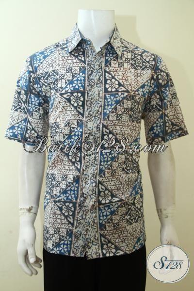 Baju Batik Cap Pewarna Alam, Batik Ramah Lingkungan Kwalitas Lebih Halus, Baju Kerja Lengan Pendek Motif Klasik, Size L