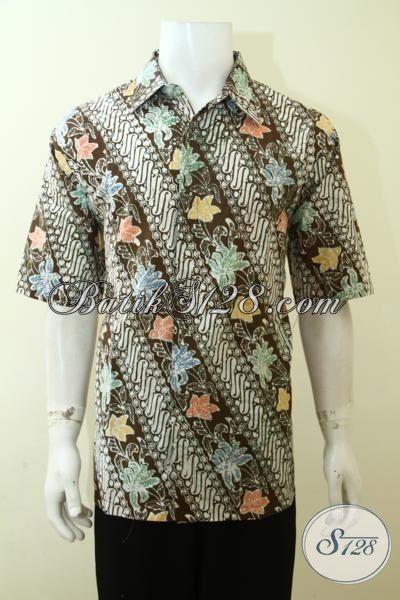 Baju Batik Parang Klasik, Hem Batik Halus Proses Cap, Busana Batik Buatan Solo Berkelas Tampil Modern Dan Trendy, Size XL