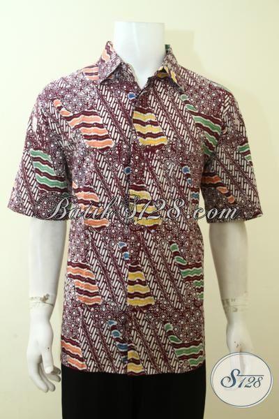 Hem Batik Trendy Motif Unik, Baju Batik Modern Lengan Pendek, Pakaian Batik Berkelas Pas Buat Gaul Dan Pesta, Size XL