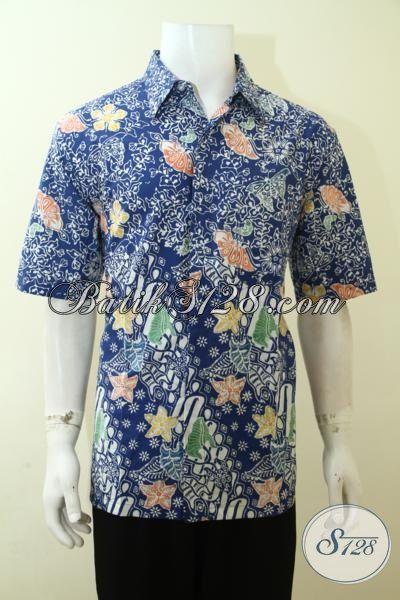 Baju Batik Biru Kombinasi Dua Motif Kwalitas Bagus Harga Terjangkau, Hem Batik Lengan Pendek Warna Trend Terkini [LD3583C-XL]