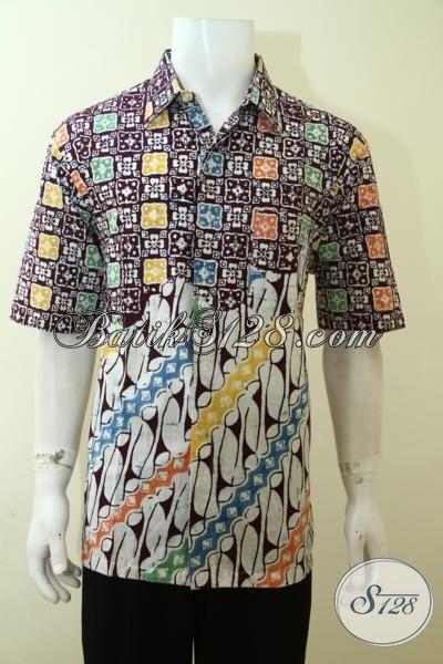 Baju Batik Dua Motif Model Lengan Pendek Hem Batik Gaul