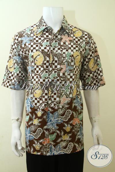 Batik Trendy Seragam Kerja Modis Dan Keren, Kemeja Batik Lengan Pendek Berbahan Lembut Dan Adem, Tersedia Ukuran Jumbo Untuk Pria Gemuk, Size XXL