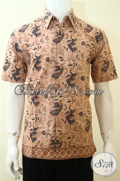 Batik Keren Warna Cokat Muda Motif Modern, Hem Batik Lengan Pendek Trend Masa Kini Proses Print Cowok Tampil Lebih Macho [LD3613P-M]