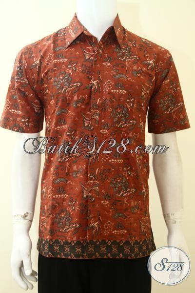 Baju Batik Kerja Pria Modern Tampil Trendy, Kemeja Batik Merah Harga Murah Kwalitas Mewah Proses Printing [LD3614P-M]