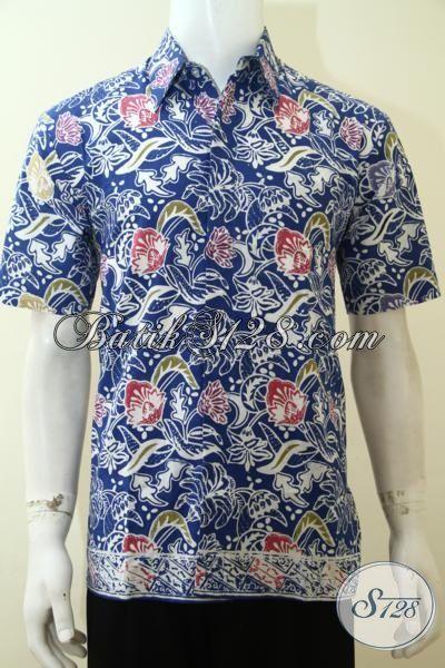 Pusat Busana Batik Berkwlaitas Asli Buatan Solo, Jual Kemeja Batik Lengan Pendek Motif Keren warna Biru, Cocok Untuk Kerja Dan Pesta [LD3615C-M]