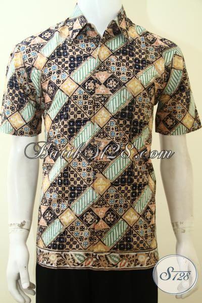 Baju Batik Parang Halus, Hem Batik Lengan Pendek, Busana Batik Cap Produk Solo Kwalitas Terjamin, Size M