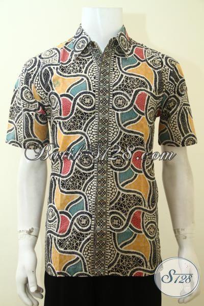 Batik Pria Seragam Ke Kantor Dengan Motif Unik Trend Terkini, Pakaian Batik Lengan Pendek Proses Cap Tulis Kwalitas Premium [LD3620CT-M]