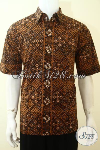 Toko Baju Batik Online Asli Wong Solo Jateng, Pakaian Batik Klasik Warna Coklat Cowok Tampil Gagah Dan Elegan [LD3626C-L]