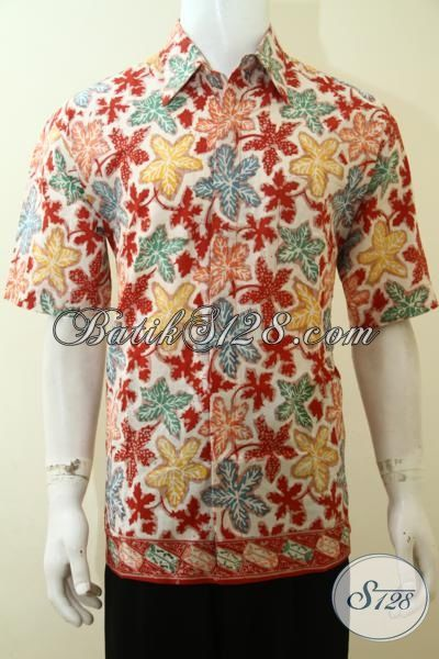 Hem Batik Trendy Warna Cerah, Busana Batik Lengan Pendek Cap Tulis Desain Motif Keren Cocok Untuk Pesta, Size L