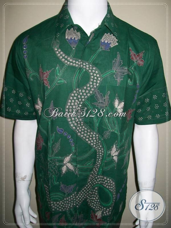 Kemeja Batik Naga, Batik Tulis Ijo Corak Naga, Eksklusif Elegan [LD363T-L]