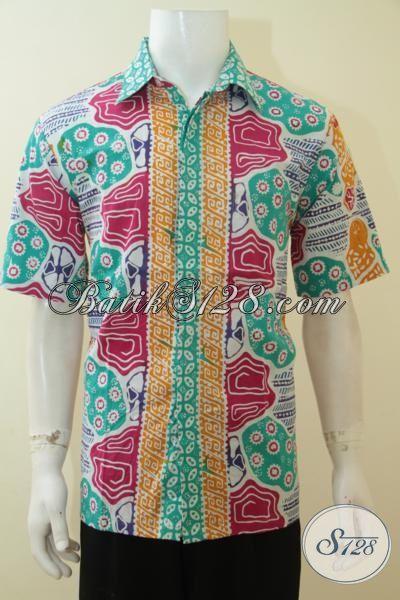 Hem Batik Lengan Pendek Motif Modern Warna Keren Kesukaan