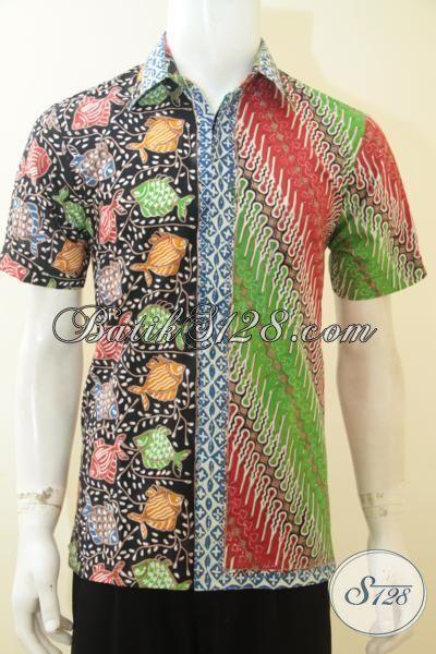 Agen Pakaian Batik Tradisional Solo Terlengkap, Jual Baju Batik Kombinasi Motif Ikan Dan Parang Trend Mode 2015 Mambuat Cowok Tampil Lebih Keren [LD3659CT-S]
