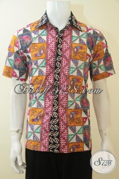 Baju Batik Cap Tulis Pria Muda Hem Batik Lengan Pendek Motif