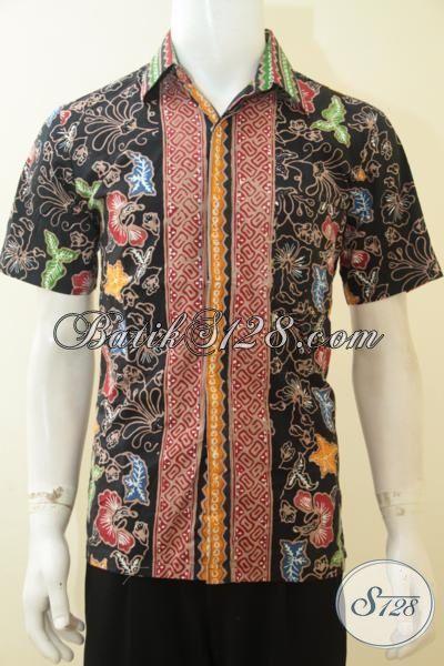 Kemeja Batik Jawa Motif Modern Bunga-Bunga Dasar Hitam, Baju Batik Cap Tulis Lengan Pendek Kwalitas Halus Tampil Elegan [LD3662CT-M]
