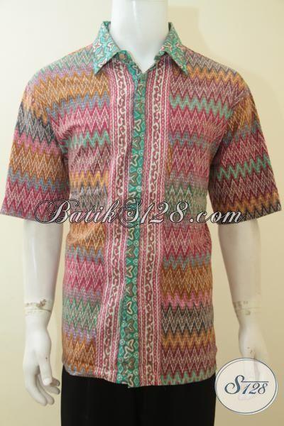 Toko Baju Batik Online Dengan Koleksi Terlengkap Dan Harga  Bersaing, Sedia Hem Cap Tulis Lengan Pendek Motif Rangrang Trend Mode 2015, Size XL