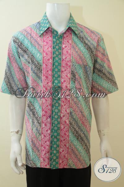 Pakaian Batik Lengan Pendek Motif Parang Warna Keren Dan Modis, Busana Batik Kwalitas Halus Trend Fashion Klasik Masa Kini, Size Jumbo XXL