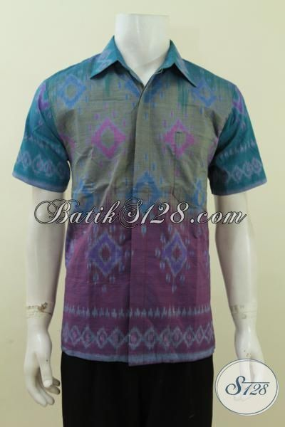 Baju Kemeja Tenun Warna Gradasi Ungu Biru Pake Daleman Furing Katun [LD3712NF-M]