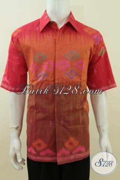 Pakaian Kerja Lelaki Dewasa Bahan Tenun Ikat Premium, Kemeja Tenun Lengan Pendek Elegan Dan Trendy Untuk Acara Formal, Size XL